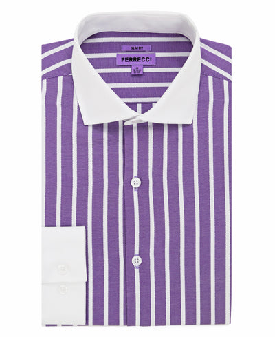 The Serrano Purple Striped Slim Fit Cotton Dress Shirt