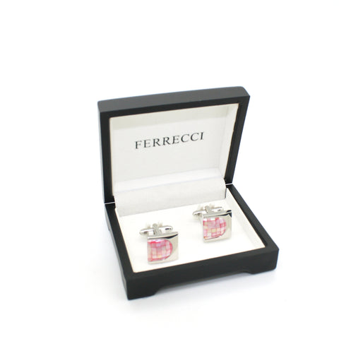 Silvertone U Pink Shell Cuff Links With Jewelry Box