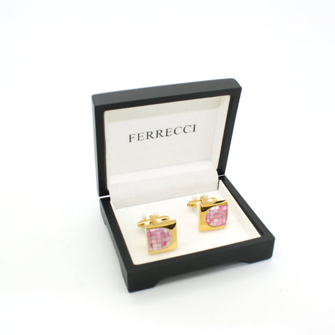 Goldtone U Pink Shell Cuff Links With Jewelry Box