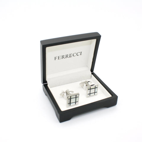 Silvertone White Shell Cuff Links With Jewelry Box