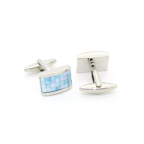 Silvertone Blue Shell Cuff Links With Jewelry Box
