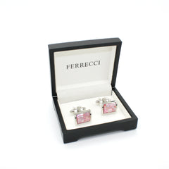 Silvertone Pink Shell Cuff Links With Jewelry Box