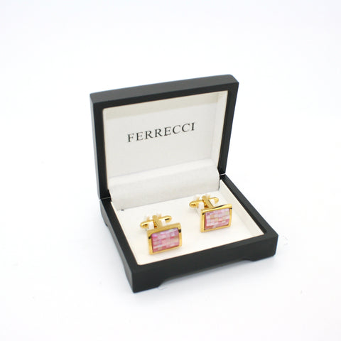 Goldtone Pink Shell Cuff Links With Jewelry Box