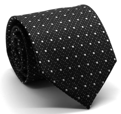 Mens Dads Classic Black Square Pattern Business Casual Necktie & Hanky Set SO-5 - Ferrecci USA