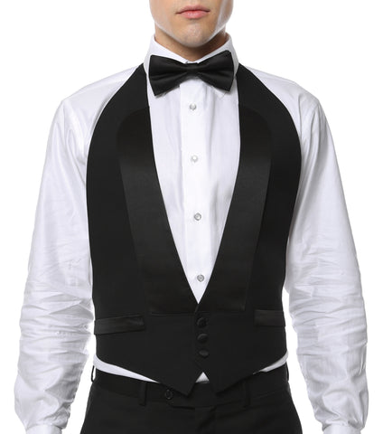 Premium Black 100% Wool Backless Tuxedo Vest  / FIT ALL (S-XL) W SATIN BOW TIE