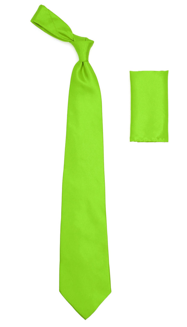 Lime Green Satin Regular Fit Dress Shirt, Tie & Hanky Set - Ferrecci USA
