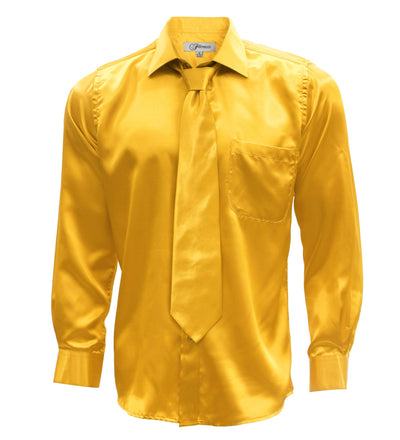 Mango Satin Regular Fit Dress Shirt, Tie & Hanky Set - Ferrecci USA