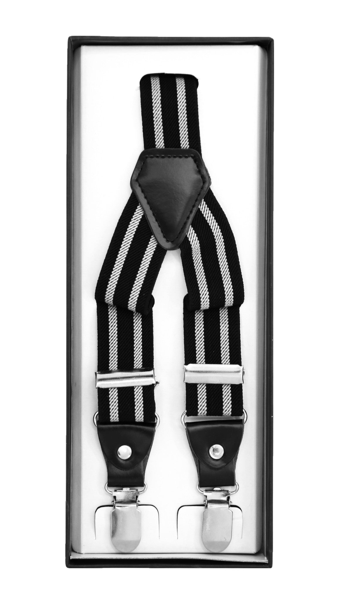 Black with Grey Stripe Unisex Clip On Suspenders