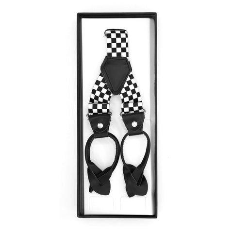 Black & White Check Unisex Button End Suspenders