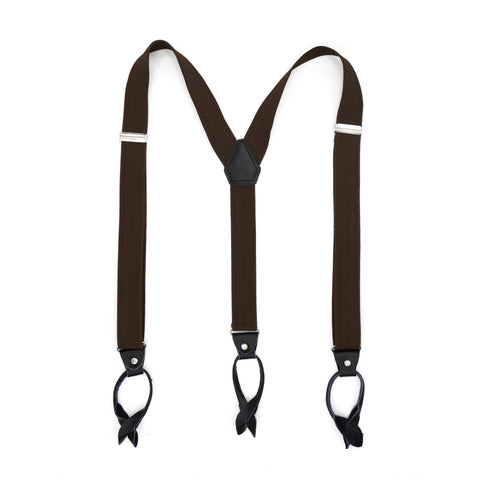 Dark Brown Blue Unisex Button End Suspenders