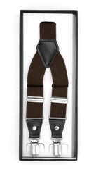 Dark Brown Clip-On Unisex Suspenders