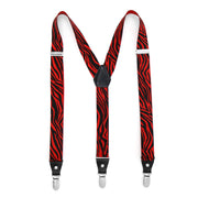 Black & Red Zebra Unisex Clip On Suspenders - Ferrecci USA