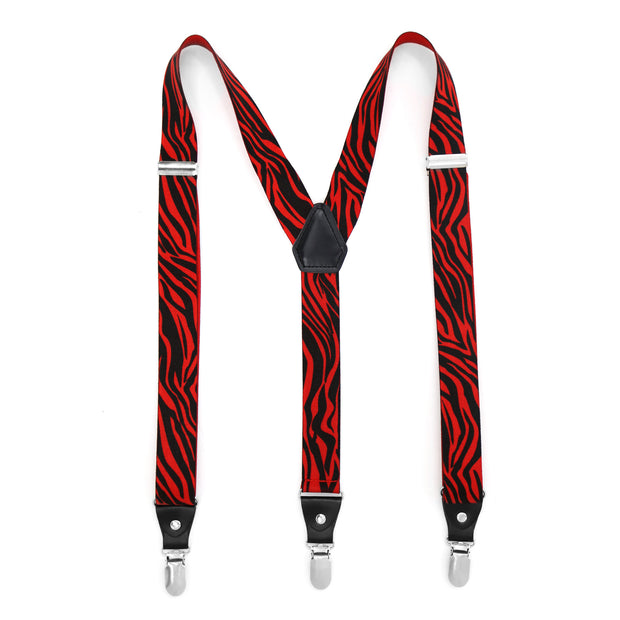 Ferrecci Premium Unisex Black & Red Zebra Clip On Suspenders