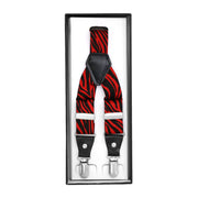 Black & Red Zebra Unisex Clip On Suspenders