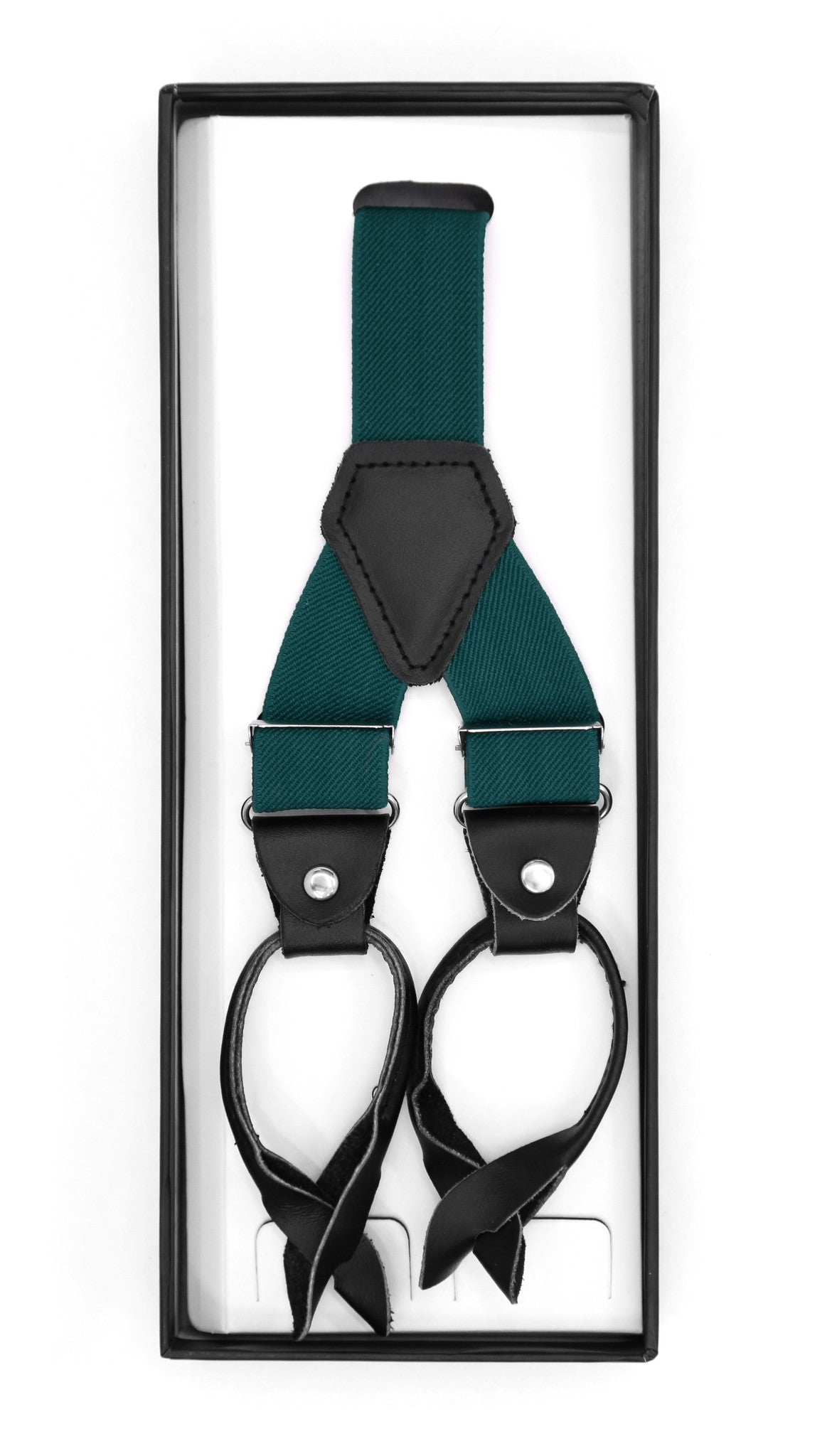 Teal Unisex Button End Suspenders