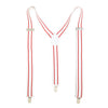 Ferrecci Premium Unisex White with Red Stripe Clip On Suspenders