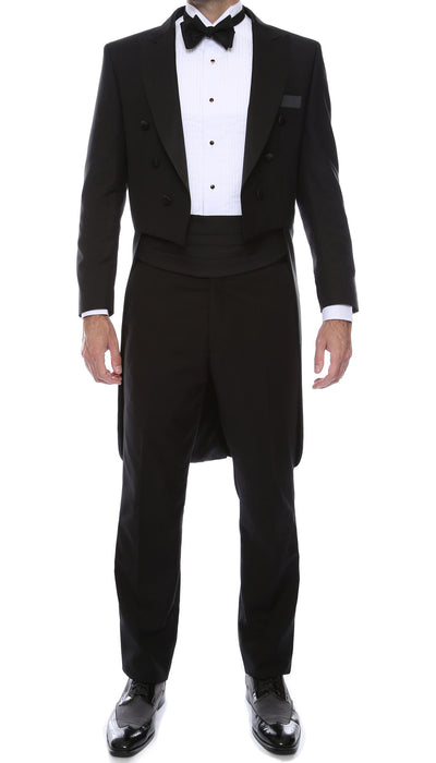 Ferrecci Men's Regular Fit Peak Lapel Black Tailcoat Tuxedo Set - Ferrecci USA