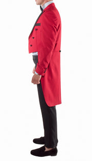 Men's Regular Fit Peak Lapel Red Tailcoat Tuxedo Set - Ferrecci USA