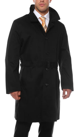 Premium Mens Black British Classic Fit Urban Trench Coat