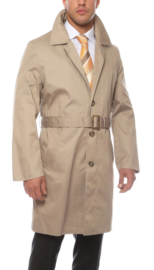 Premium Mens Tan British Classic Fit Urban Trench Coat