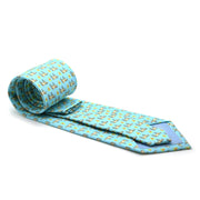 FHY INC aqua cow print tie with handkerchief
