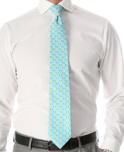 Cash Cow Aqua Necktie with Handkerchief Set