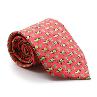 FHY INC coral cow print tie