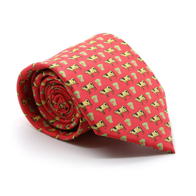 Cash Cow Red Necktie with Handkerchief Set - Ferrecci USA