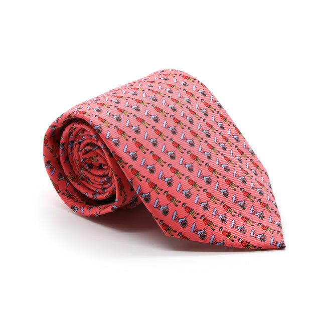 FHY INC pink carriage print tie
