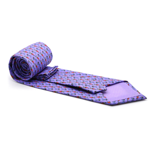 FHY INC purple carriage print tie with handkerchief