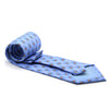 FHY INC blue feather print tie with handkerchief