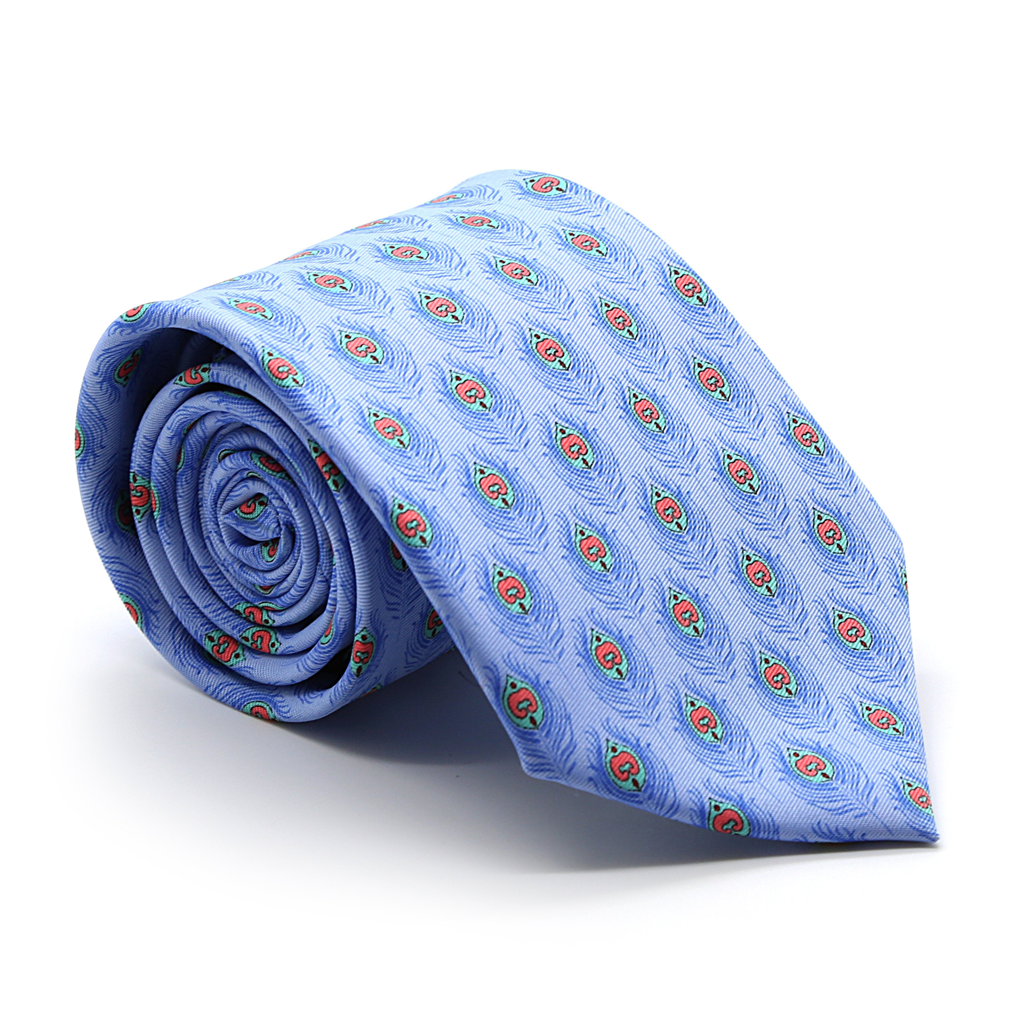 FHY INC blue feather print tie