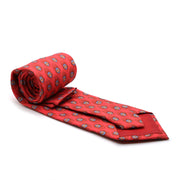 Feather Red Necktie with Handkerchief Set - Ferrecci USA