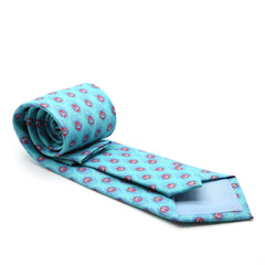 FHY INC teal feather print tie with handkerchief