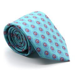 FHY INC teal feather print tie