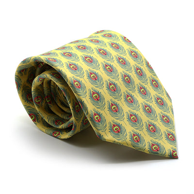 Feather Yellow Necktie with Handkerchief Set - Ferrecci USA