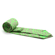 Flamingo Green Necktie with Handkerchief Set - Ferrecci USA