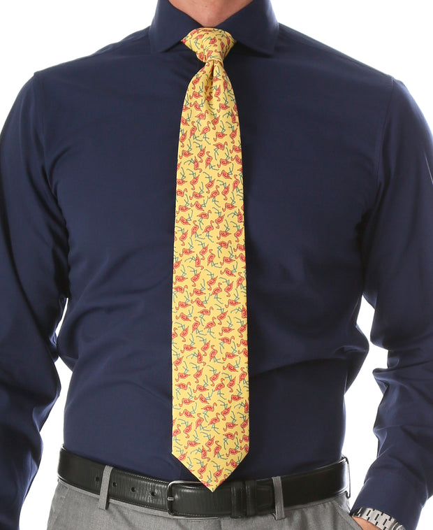 Flamingo Yellow Necktie with Handkerchief Set - Ferrecci USA
