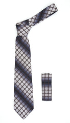 Geometric Grey w Brown Squares Necktie w. Hanky Set