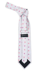 Geometric Light Grey Necktie w. Pink Clovers & Squares w. Hanky Set
