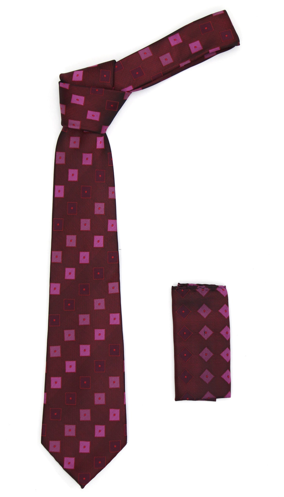 Geometric Berry Red Necktie w. Dotted Squares Hanky Set