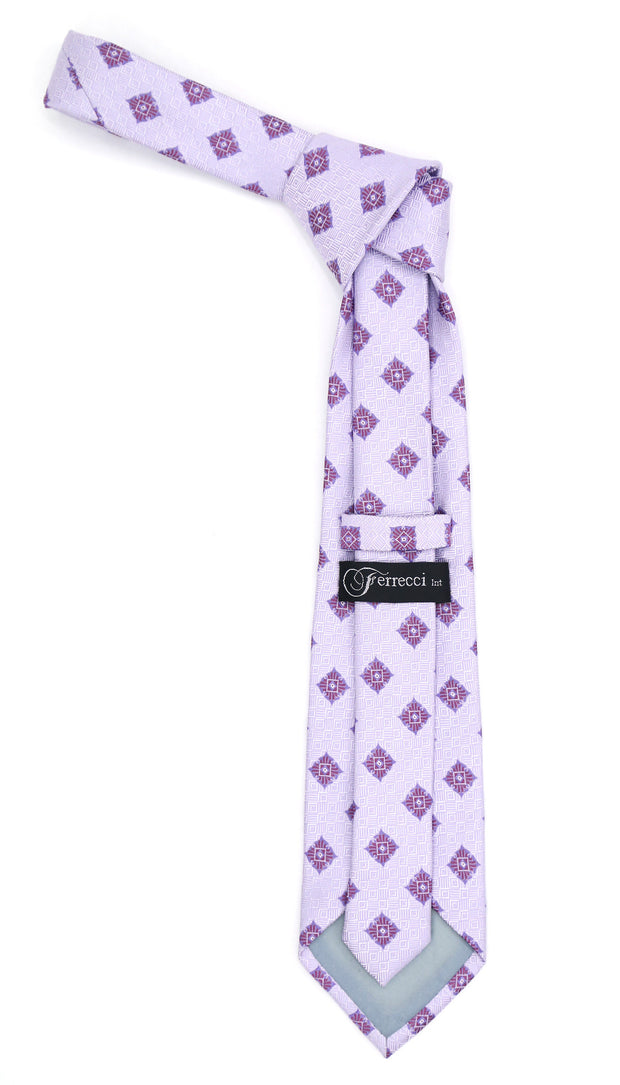 Geometric Light Purple Necktie with Hanky Set - Ferrecci USA