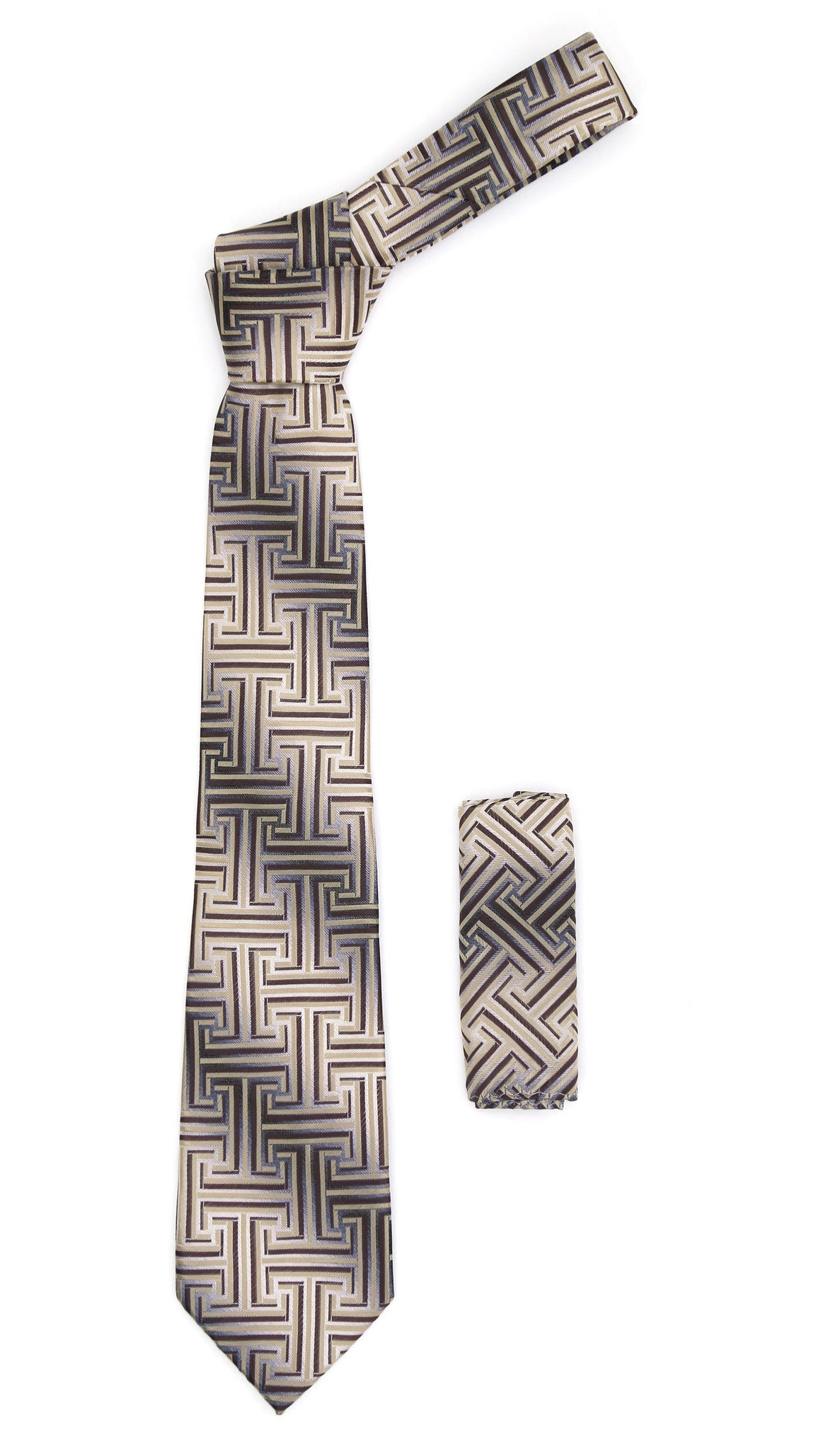 Geometric Brown & Tan Line Pattern w. Hanky Set