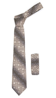 Geometric Brown & Tan Line Pattern w. Hanky Set - Ferrecci USA