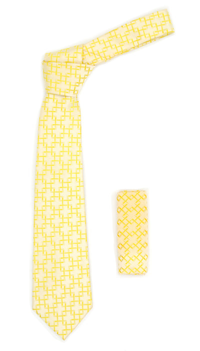 Geometric Light Yellow w. Yellow Line Necktie with Hanky Set - Ferrecci USA