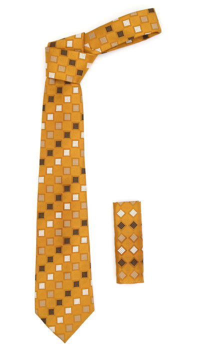 Geometric Burnt Orange Necktie w. White Brown and Tan Squares with Hanky Set - Ferrecci USA