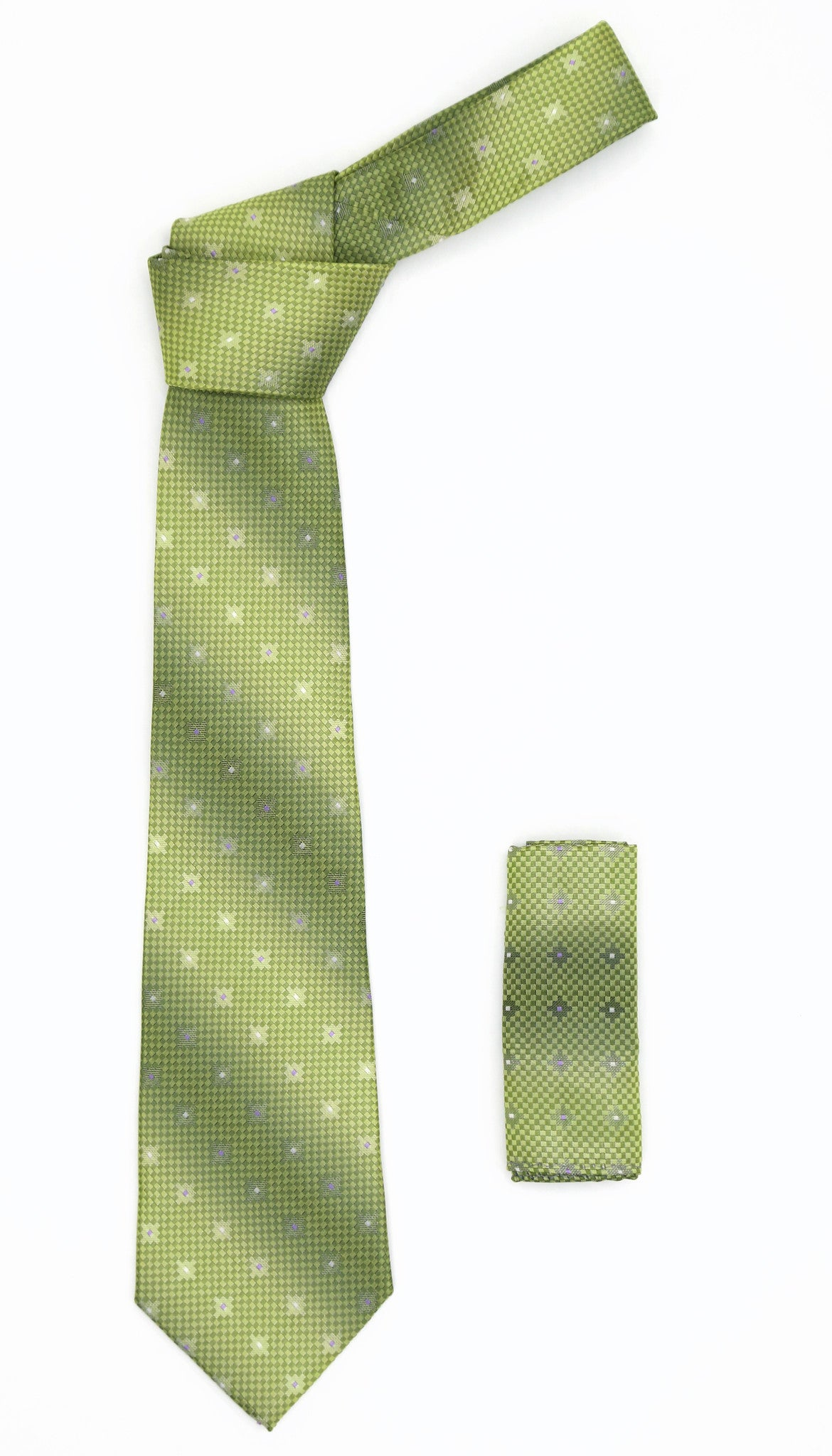 Geometric Olive Green Necktie w. Diamond Shaped Pattern Hanky Set
