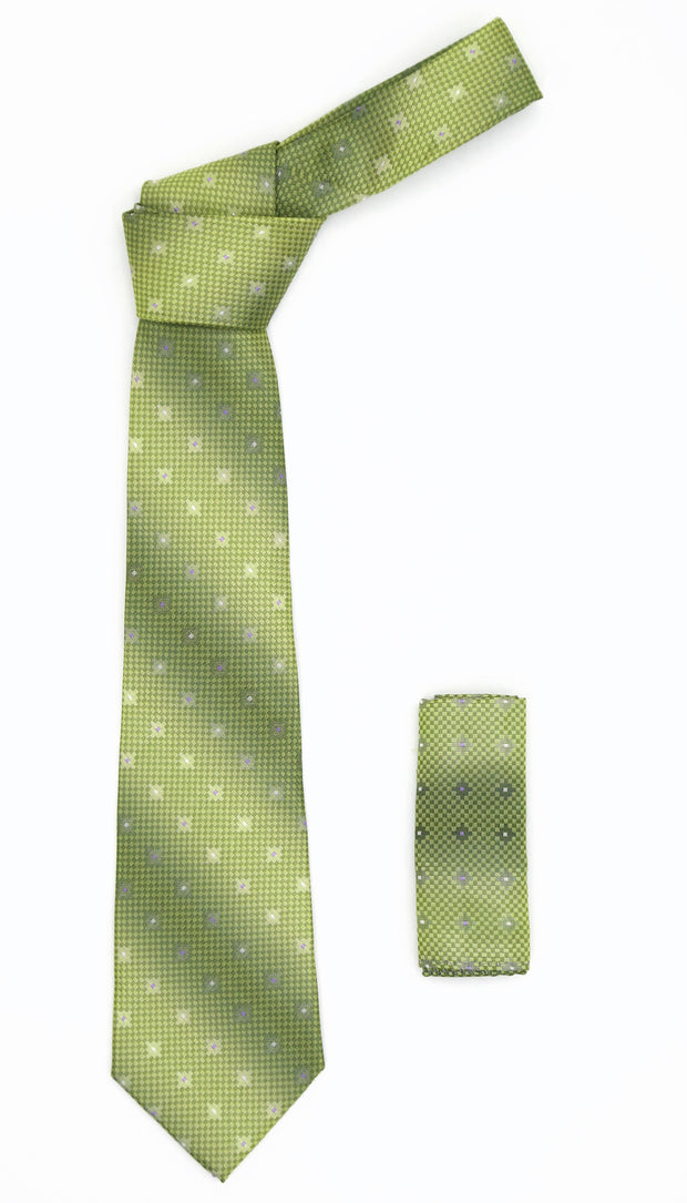 Geometric Olive Green Necktie w. Diamond Shaped Pattern Hanky Set - Ferrecci USA