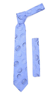 Sky Blue Swirl Design Necktie with Handkerchief Set