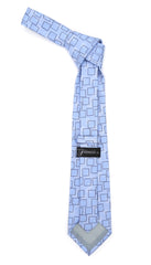 Sky blue Geometric Necktie with Handkerchief Set